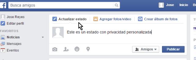 Caja de texto para actualizar estado en cómo personalizar la privacidad de un estado en Facebook