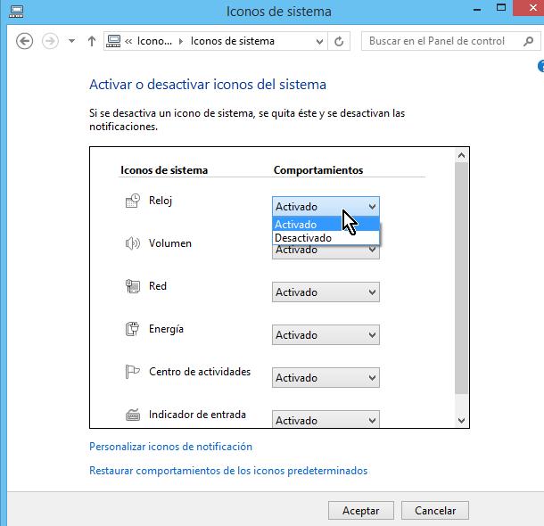 Menú desplegable de comportamientos para ícono del sistema en cómo personalizar los íconos de la barra de tareas en Windows 8