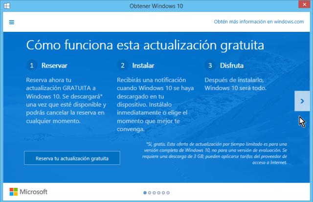 Venta que explica cómo funciona la actualización en cómo reservar tu copia de Windows 10 gratis