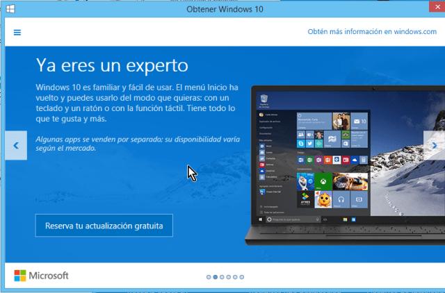 Ventana que explica el regreso del menú de Inicio en cómo reservar tu copia de Windows 10 gratis