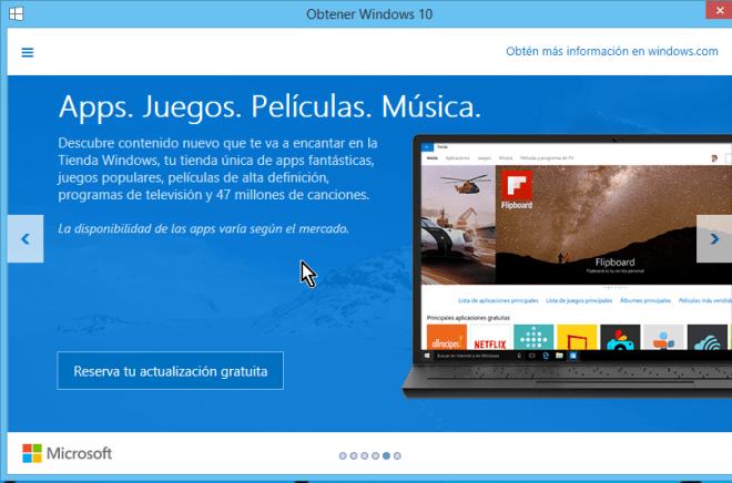 Explica algunos de las Apps, Juegos, Películas y Música de Windows 10 en cómo reservar tu copia de Windows 10 gratis