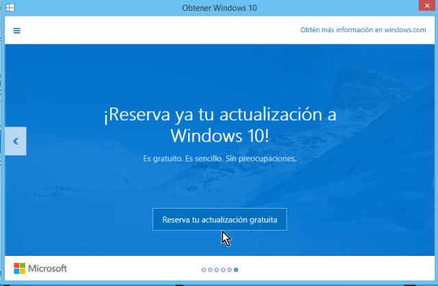 Botón para reservar la actualización gratuita en cómo reservar tu copia de Windows 10 gratis