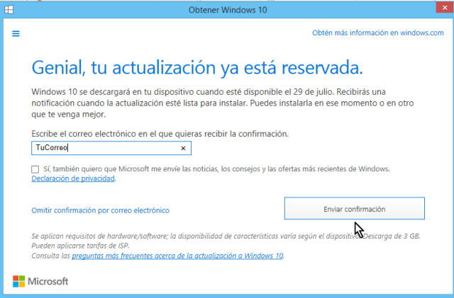 Botón para Enviar confirmación y reservar Window 10 en cómo reservar tu copia de Windows 10 gratis