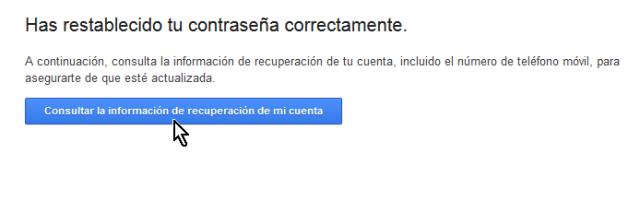 Mensaje indicando que la cuenta ha sido restablecida en cómo cambiar la contraseña de Gmail
