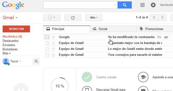 Bandeja de entrada mostrando correo enviado por Google en cómo cambiar la contraseña de Gmail