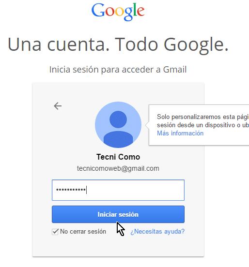 Entrando la contraseña actual de tu cuenta de Gmail en cómo cambiar la contraseña de Gmail