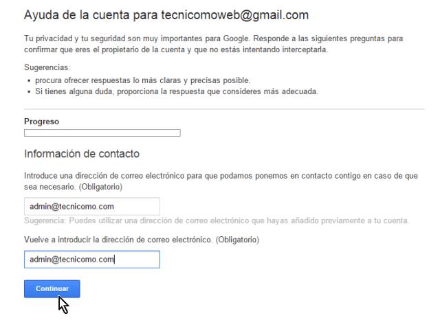 Entrando dirección de correo alternativa para recuperar cuenta de Gmail en cómo cambiar la contraseña de Gmail