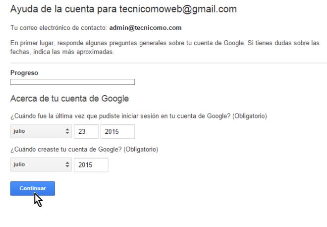 Preguntas hechas por Gmail para confirmar que eres el dueño de la cuenta en cómo cambiar la contraseña de Gmail
