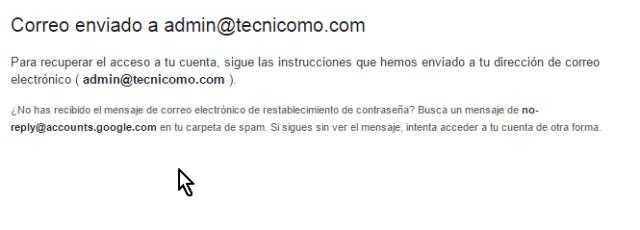 Confirmación de correo enviado para recuperar cuenta en cómo cambiar la contraseña de Gmail