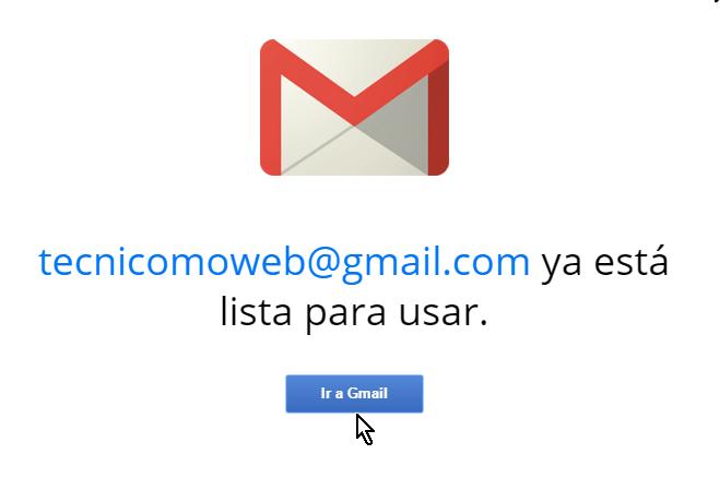 Fin de la presentación y Gmail listo para usar en cómo crear una cuenta de Gmail en español
