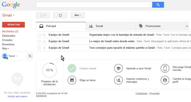 Pantalla principal de Gmail en cómo crear una cuenta de Gmail en español