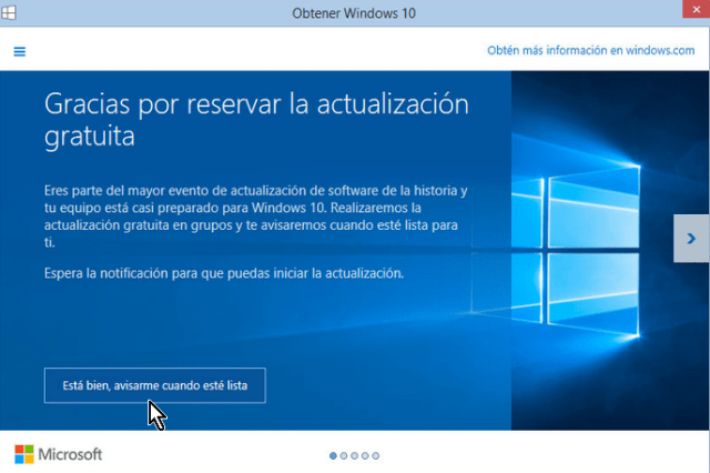 Pantalla indicando el estatus para obtener Windows 10 en cómo descargar e instalar Windows 10 inmediatamente