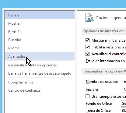 Enlace para acceder las opciones Avanzadas de Word en cómo eliminar elementos de la lista de Documentos recientes en Office 2013