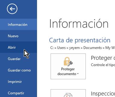 Opción Abrir de Word en cómo eliminar elementos de la lista de Documentos recientes en Office 2013