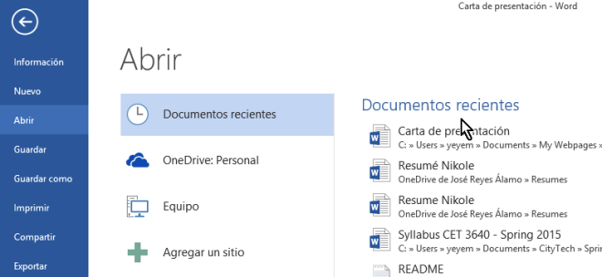 Últimos documentos editados en Word en cómo eliminar elementos de la lista de Documentos recientes en Office 2013