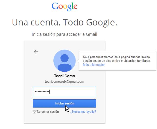 Botón Iniciar sesión para presionar luego de entrar la contraseña en cómo iniciar una sesión de Gmail