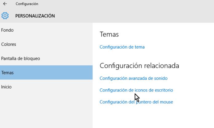 Enlace para la Configuración de iconos de escritorio en cómo ocultar la Papelera de reciclaje del Escritorio en Windows 10