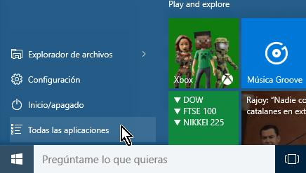 Botón para acceder a todas las aplicaciones en cómo añadir íconos al menú de Inicio de Windows 10