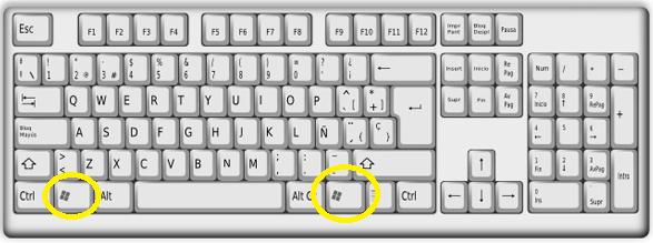 Tecla de Windows en un teclado tradicional en cómo acceder al menú de Inicio en Windows 10