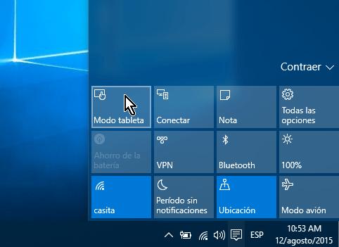 Botón Modo tableta en el Centro de actividades en cómo activar el modo tableta manualmente en Windows 10