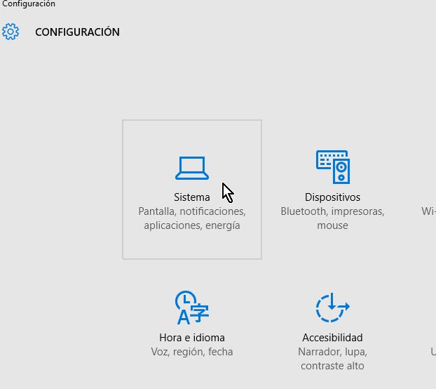Opción para acceder la configuración del Sistema en cómo activar el modo tableta manualmente en Windows 10