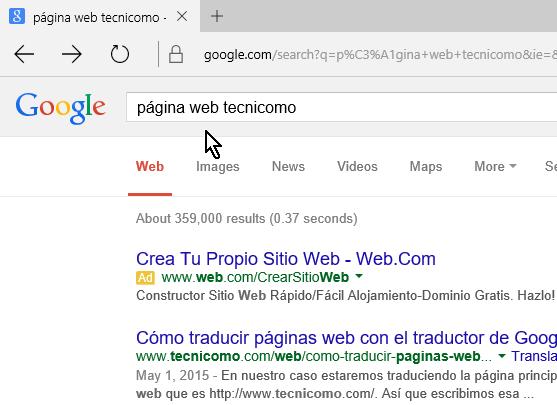Resultado de la búsqueda desde la barra de direcciones de Microsoft Edge en cómo cambiar el motor de búsqueda predeterminado en Microsoft Edge