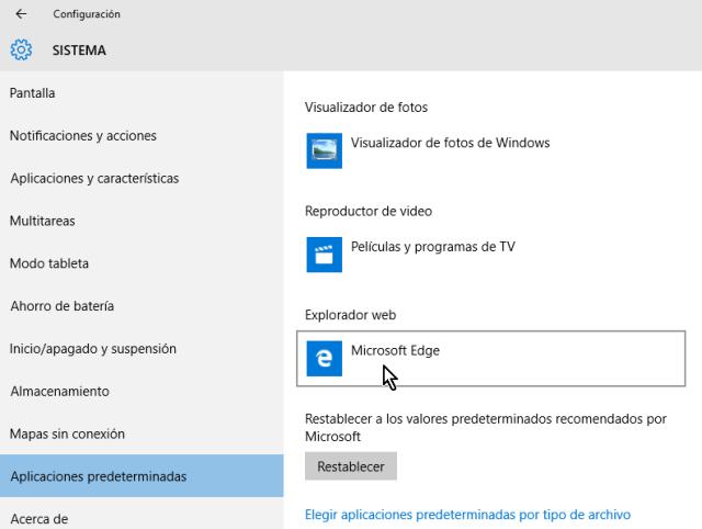 Explorador web por defecto es Microsoft Edge en cómo cambiar el navegador predeterminado en Windows 10