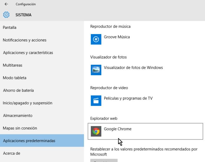 Ejemplo cambiando el exploradore predeterminado a Google Chrome en cómo cambiar el navegador predeterminado en Windows 10