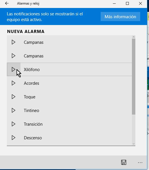 Campo para escoger el sonido de la alarma en cómo crear una alarma en Windows 10