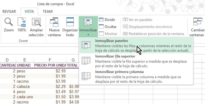 Opción Inmovilizar paneles en cómo inmovilizar filas y columnas en Excel 2013