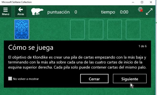 Ventana emergente mostrando las instrucciones del juego solitario en cómo jugar solitario en Windows 10