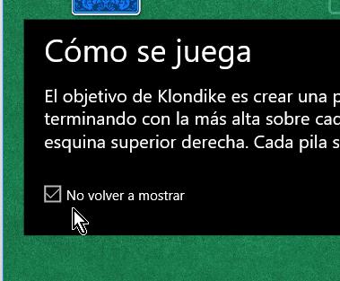 Casilla para no mostrar las instrucciones del juego solitario en cómo jugar solitario en Windows 10