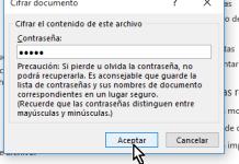 Ventana emergente para cifrar contraseña de documento en cómo proteger un documento de Word poniéndole contraseña
