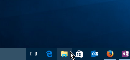 Icono para acceder el Explorador de archivos desde la barra de tareas en cómo acceder al Explorador de archivos en Windows 10
