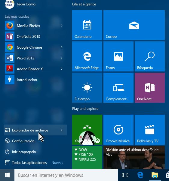 Botón del Explorador de archivos en el menú Inicio en cómo acceder al Explorador de archivos en Windows 10