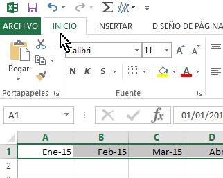 Pestaña Inicio en cómo cambiar la orientación de las celdas en Excel 2013