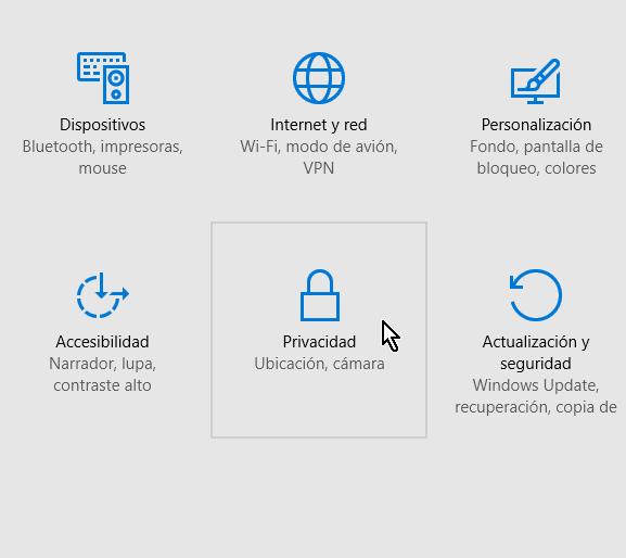 Botón para la configuración de la Privacidad de la cámara en Windows 10