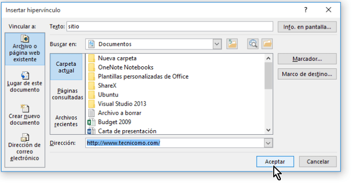 Botón Aceptar para insertar el enlace o hipervínculo a documento de Word