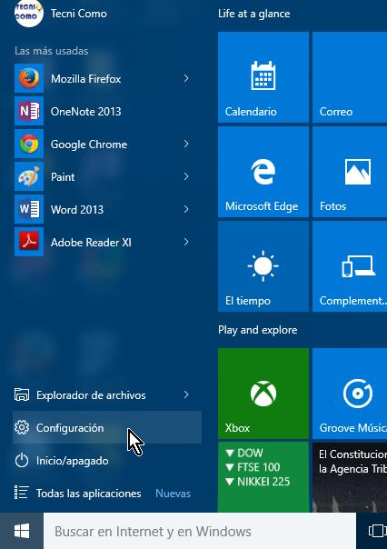 Opción Configuración del menú Inicio en cómo obtener más temas para Windows 10 en línea