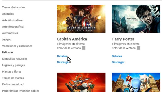 Botón para ver más detalles de un tema en cómo obtener más temas para Windows 10 en línea
