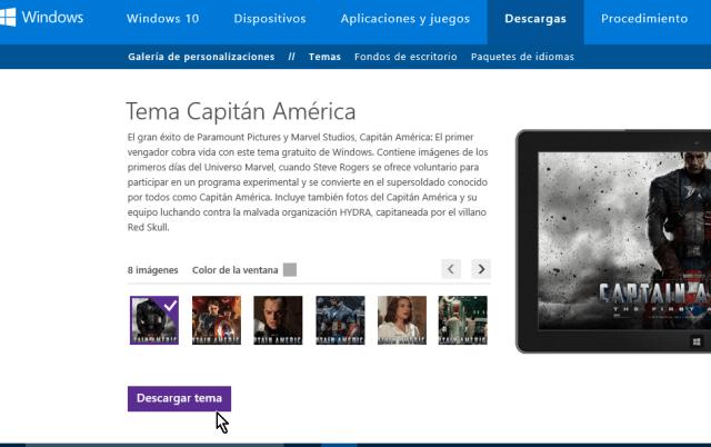 Botón para descargar un tema de Windows 10 en cómo obtener más temas para Windows 10 en línea