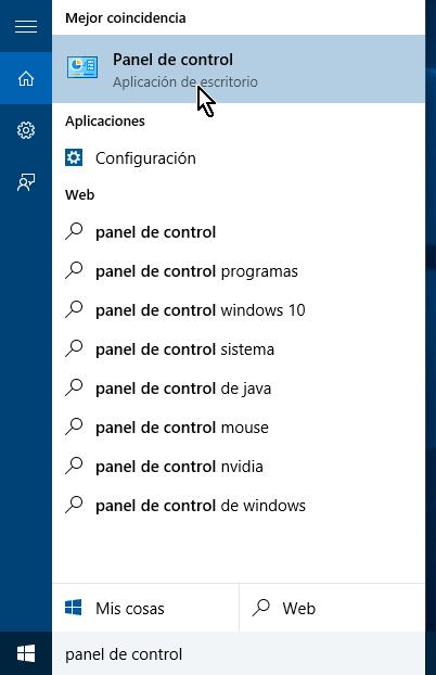 Lista de recomendación que coinciden con búsqueda en cómo abrir el Panel de control en Windows 10