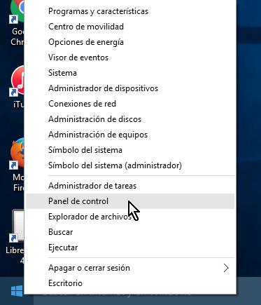 Opción Escritorio del menú WinX en cómo abrir el Panel de control en Windows 10