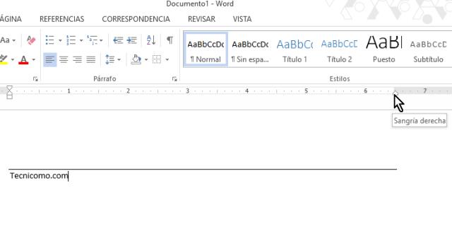 Sangría derecha en documento en cómo colocar una raya encima del texto en Word 2013
