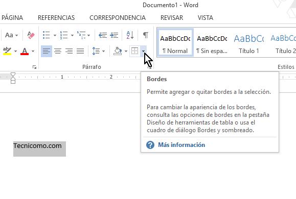 Botón Bordes en cómo colocar una raya encima del texto en Word 2013