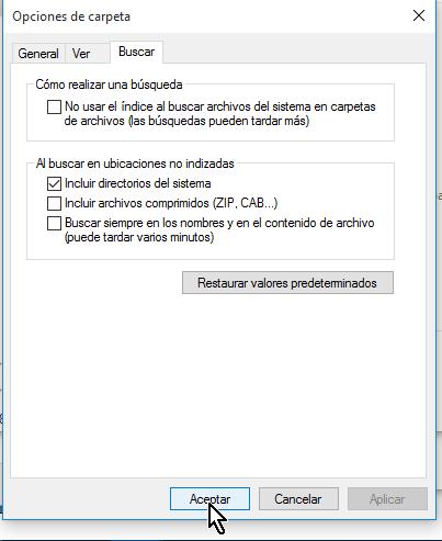 Botón Aceptar para guardar los cambios en cómo configurar las opciones de carpeta en Windows 10
