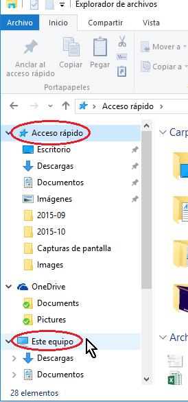 Carpetas acceso rápido y Este equipo del Explorador de archivos en cómo configurar las opciones de carpeta en Windows 10