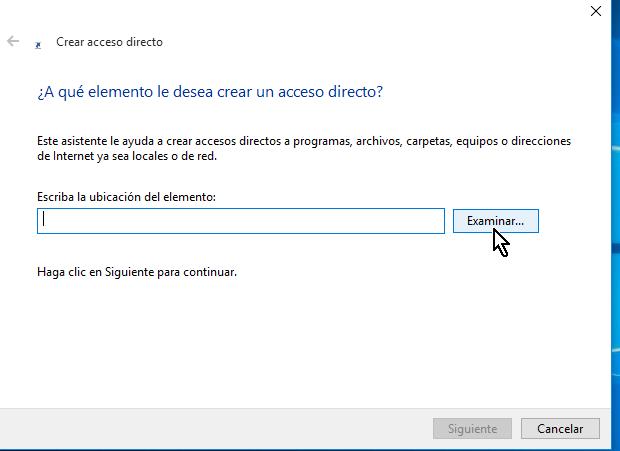 Botón Examinar en cómo crear un acceso directo en Windows 10