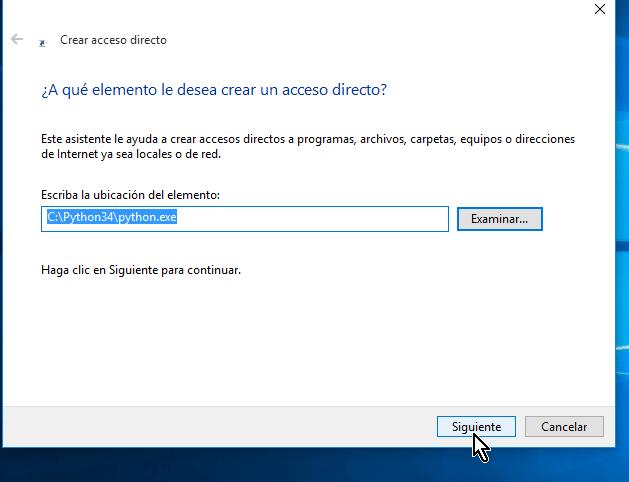 Ubicación del archivo en la caja de texto y botón Siguiente en cómo crear un acceso directo en Windows 10