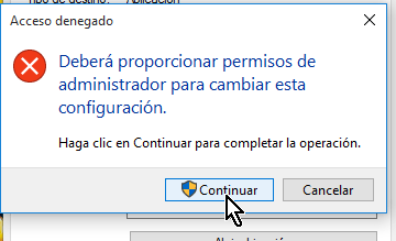 Otorgando permisos de administrador al acceso directo en cómo lanzar Google Chrome en modo incógnito con un acceso directo